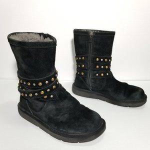 UGG Clovis Black Suede Studded Lined Winter Boots